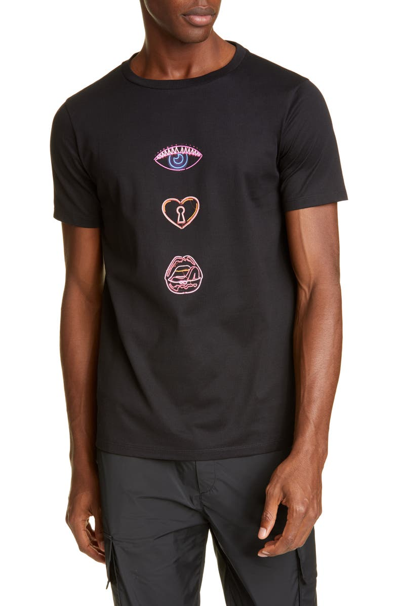 NEIL BARRETT Neil Barett Runway Print Crewneck T-Shirt, Main, color, BLACK/MULTICOLOR