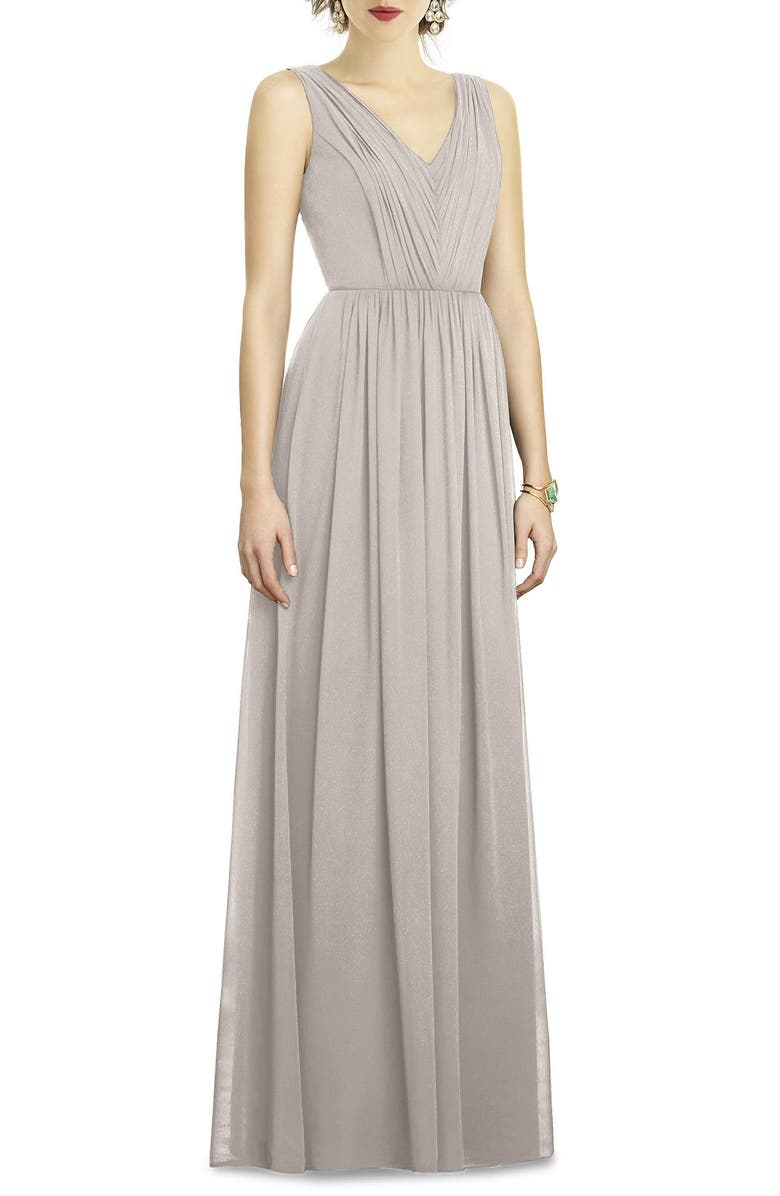 DESSY COLLECTION Shirred Shimmer Chiffon Gown, Main, color, TAUPE SILVER