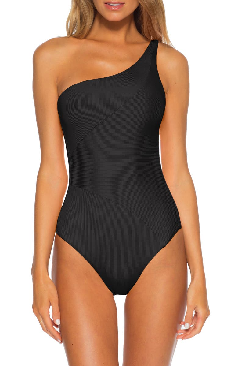 BECCA Fine Line One-Shoulder One-Piece Swimsuit, Main, color, BLACK