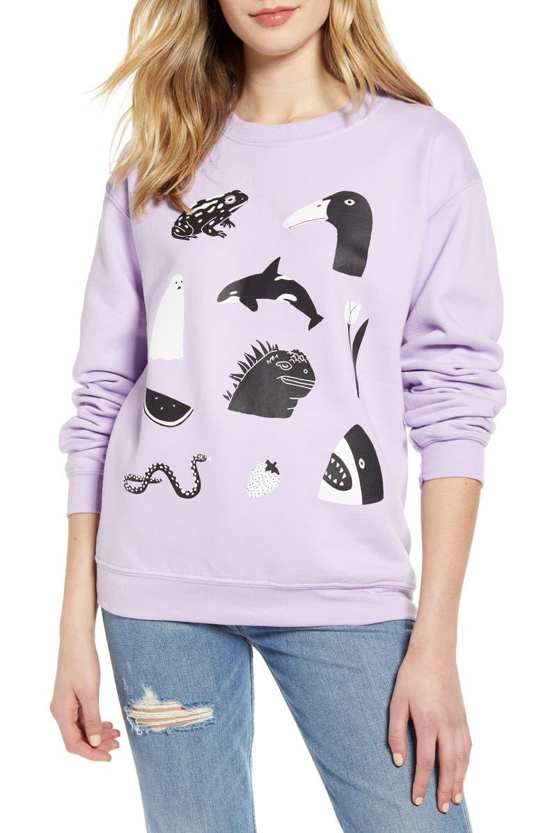 LORIEN STERN Animal Graphic Cotton Blend Sweatshirt, Main, color, LAVENDER