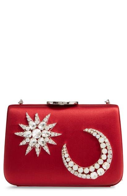 Giambattista Valli Star & Moon Embellished Box Clutch In Ruby/ Nickel