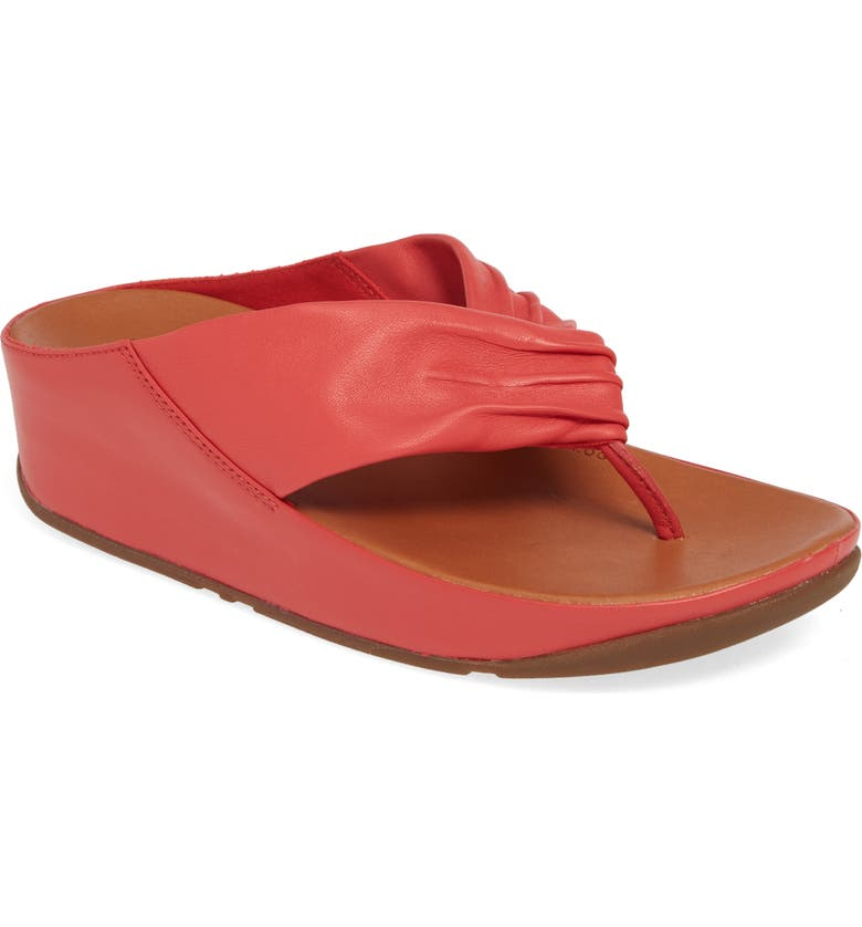 FITFLOP Twiss Flip Flop, Main, color, PASSION RED LEATHER