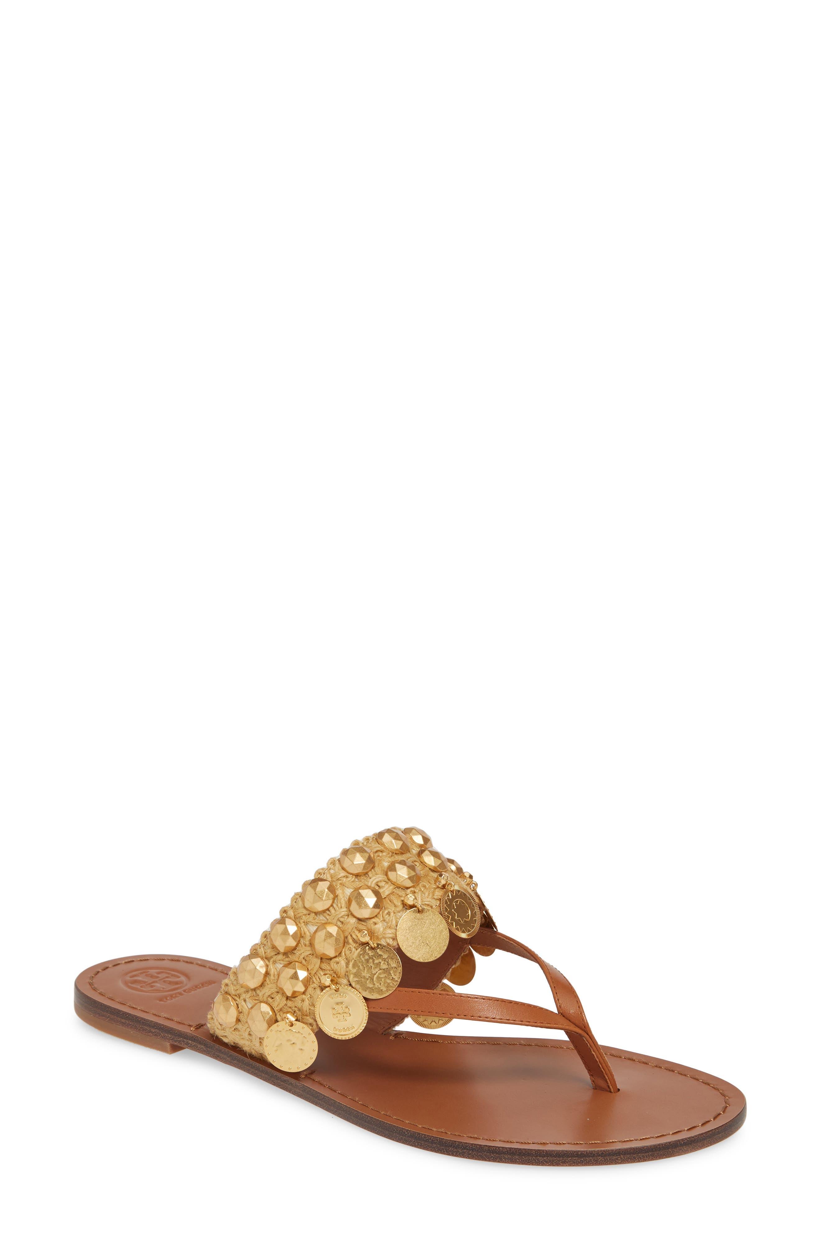 Tory Burch Patos Coin Thong Sandal, Brown