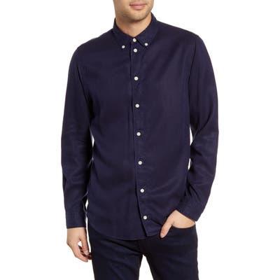 Wax London Bampton Slim Fit Tencel Lyocell Button-Down Shirt, Blue
