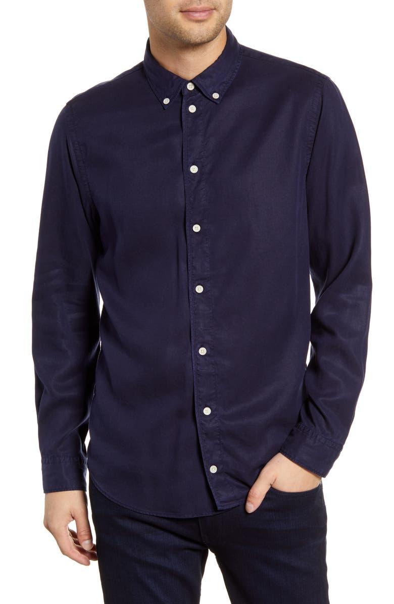 WAX LONDON Bampton Slim Fit Tencel<sup>®</sup> Lyocell Button-Down Shirt, Main, color, DEEP NAVY