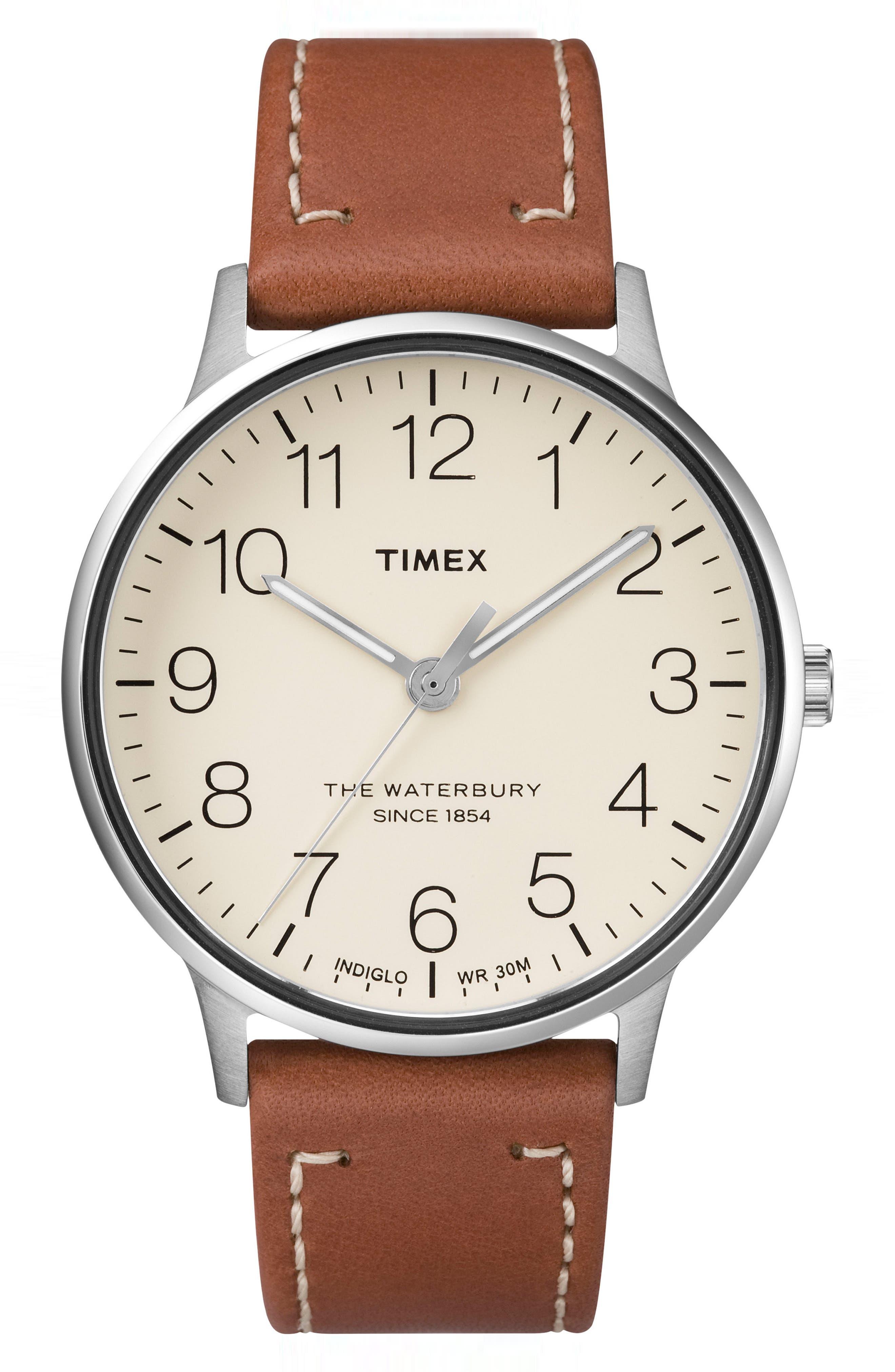 Timex Waterbury Classic Leather Strap Watch, 40Mm