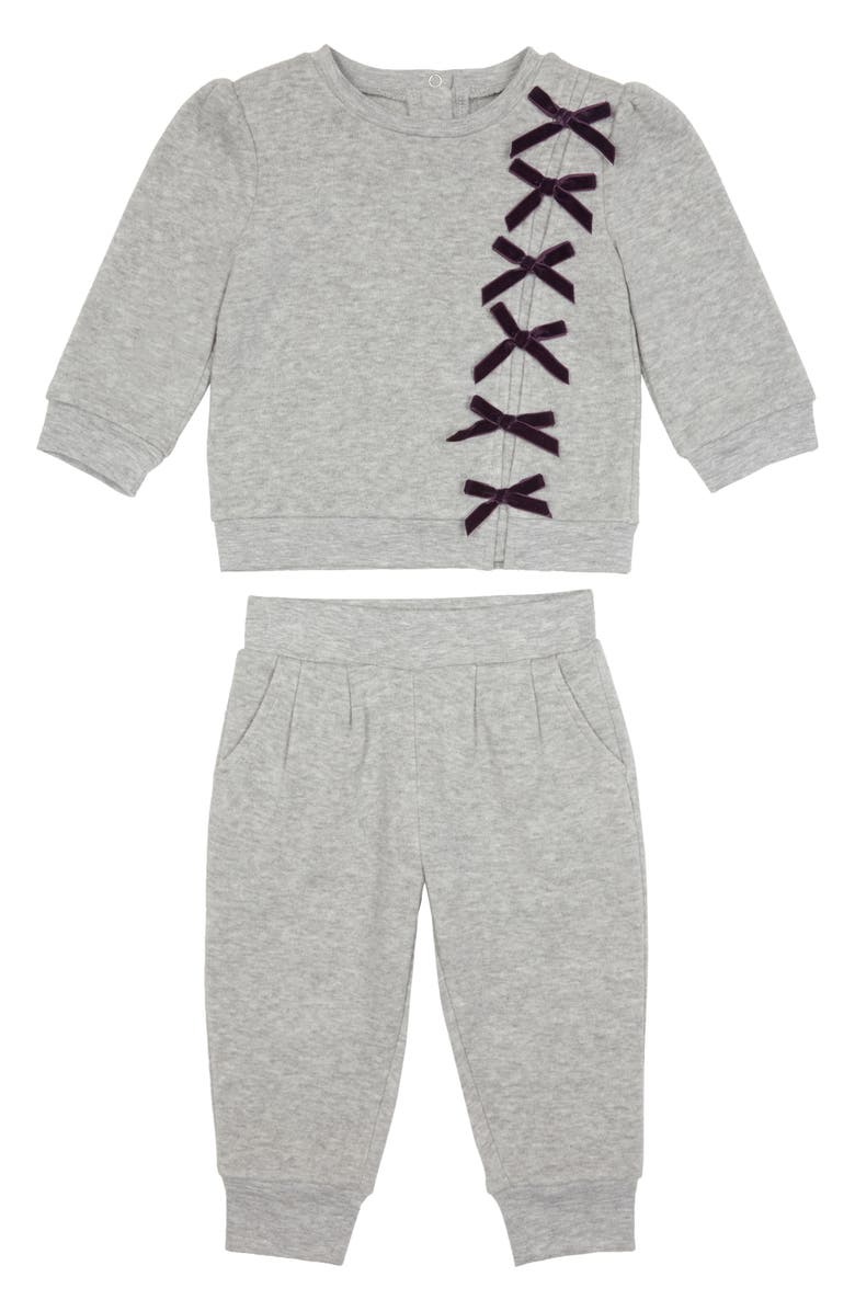 HABITUAL Bella Ribbon Sweatshirt & Sweatpants Set, Main, color, GREY HEATHER