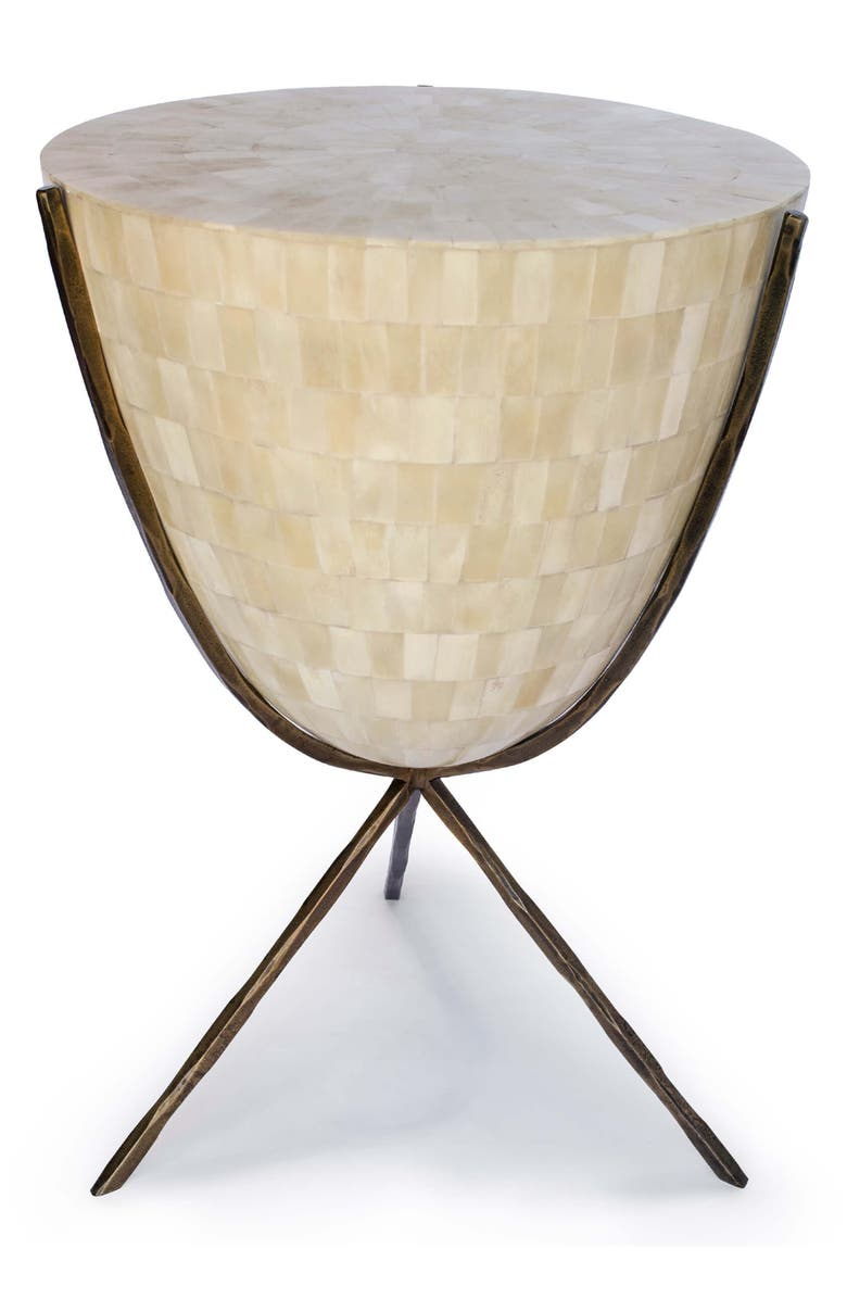 REGINA ANDREW Coco Natural Bone Side Table, Main, color, IVORY