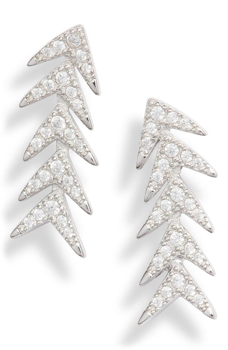 STERLING FOREVER Pavé Ear Crawlers, Main, color, SILVER