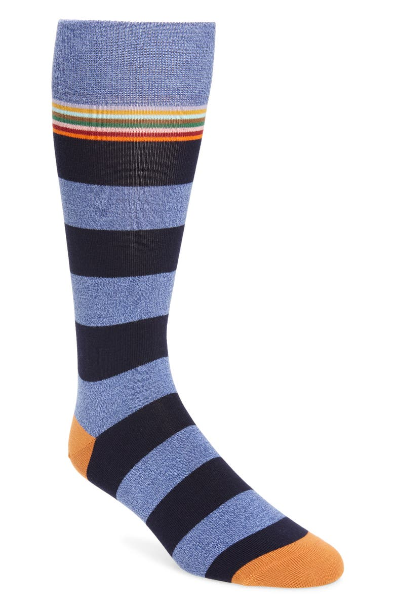 PAUL SMITH Sol Twist Stripe Socks, Main, color, NAVY
