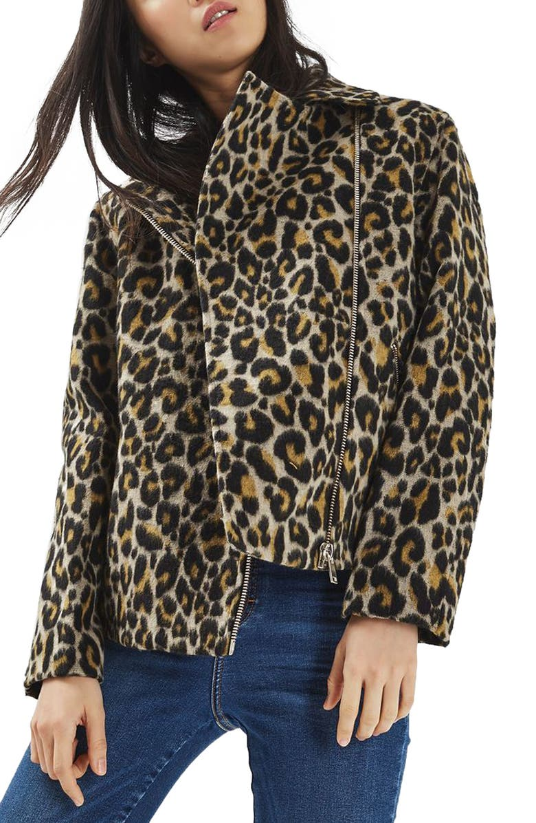 TOPSHOP Leopard Print Biker Jacket, Main, color, 211