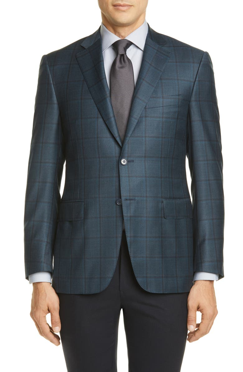 CANALI Sienna Soft Classic Fit Windowpane Wool Sport Coat, Main, color, BLUE