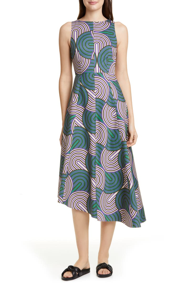 LA DOUBLEJ Pina Asymmetrical Hem Midi Dress, Main, color, SLINKY
