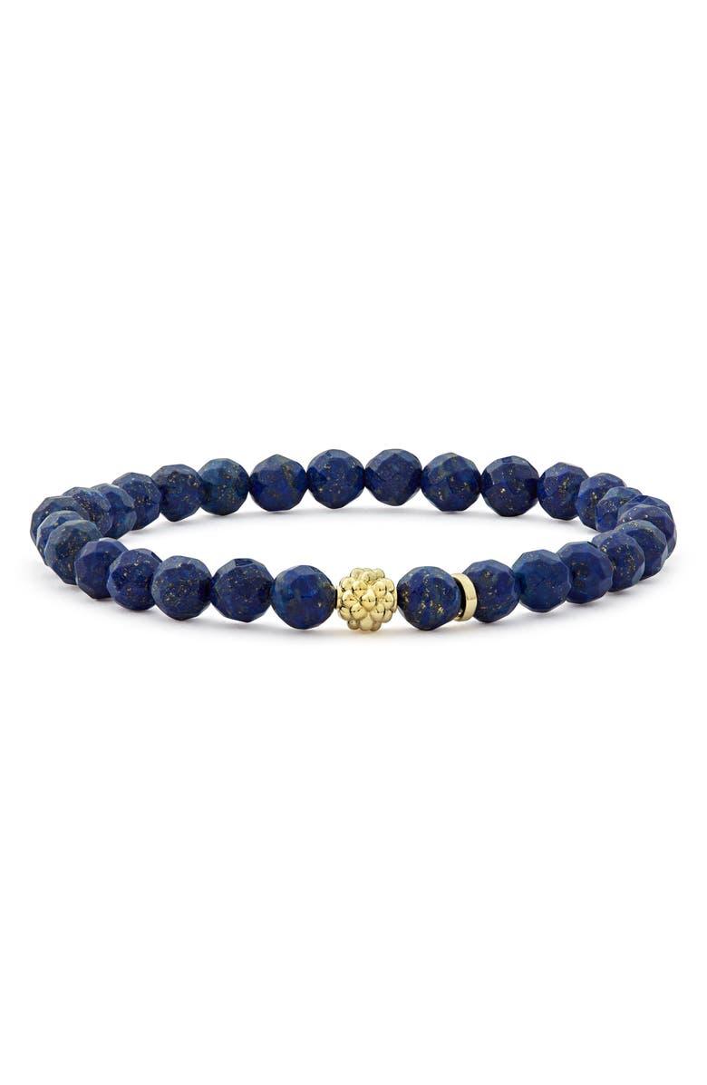 LAGOS Caviar Icon Stretch Bead Bracelet, Main, color, SILVER/ LAPIS