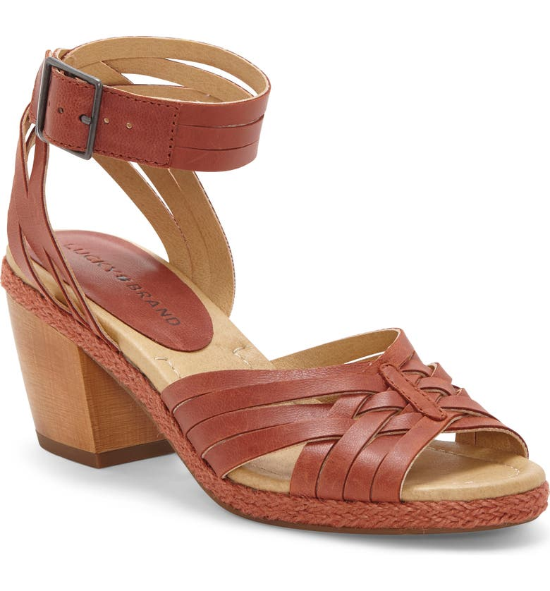 LUCKY BRAND Noxa Ankle Strap Sandal, Main, color, SUMAC LEATHER
