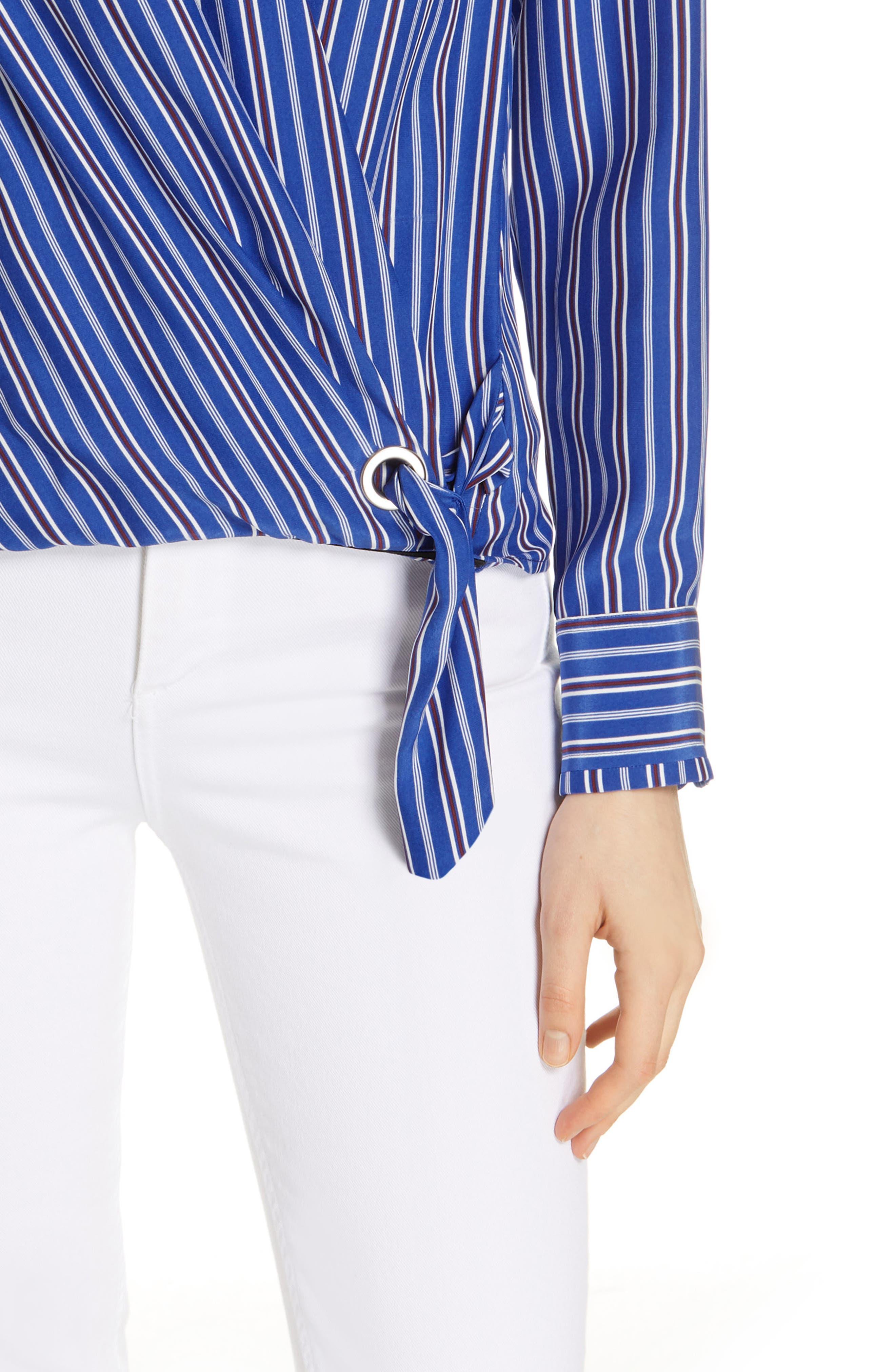 ,                             Felix Stripe Silk Wrap Top,                             Alternate thumbnail 4, color,                             BLUE MULTI