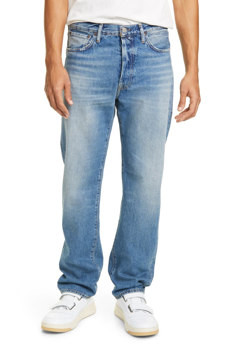 ACNE STUDIOS Distressed Jeans, Main, color, MID BLUE TRASH