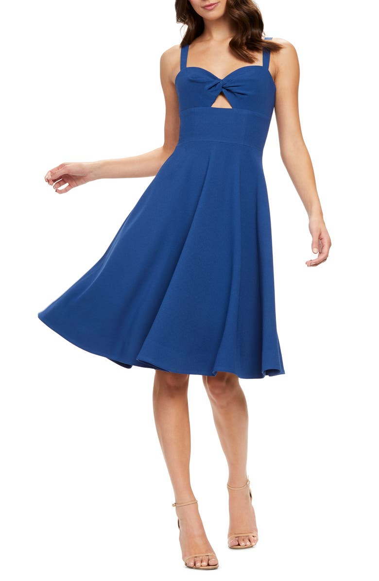 DRESS THE POPULATION Bianca Sweetheart Midi Cocktail Dress, Main, color, GRAPHITE BLUE