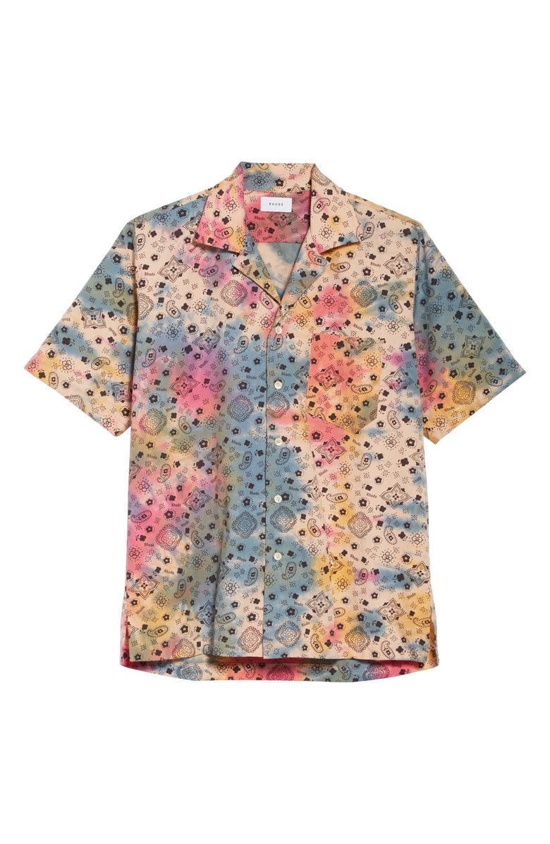 RHUDE Bandana Peace Camo Short Sleeve Button-Up Camp Shirt, Main, color, 001