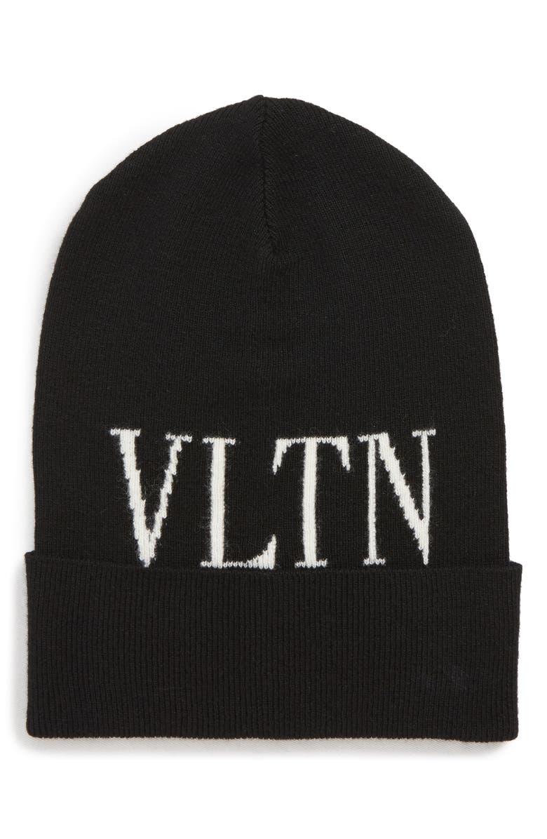 VALENTINO GARAVANI VLTN Wool & Cashmere Beanie, Main, color, NERO/ BIANCO