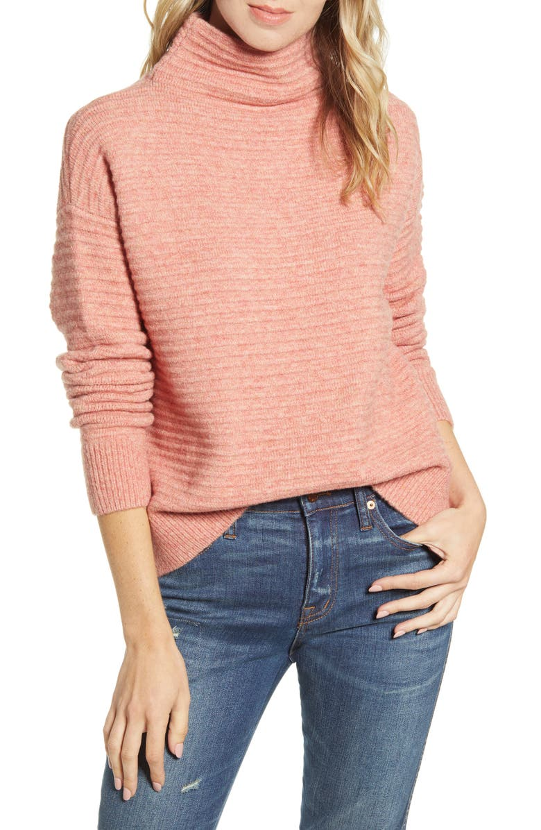 MADEWELL Belmont Mock Neck Sweater, Main, color, HEATHER PEACH