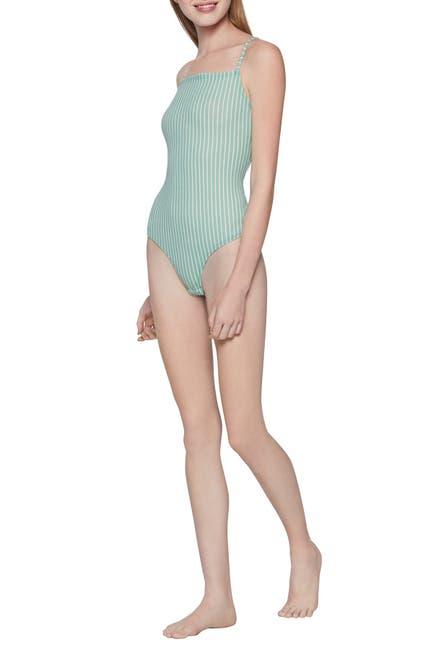 Image of BCBGeneration Striped Square Neck Sleeveless Bodysuit