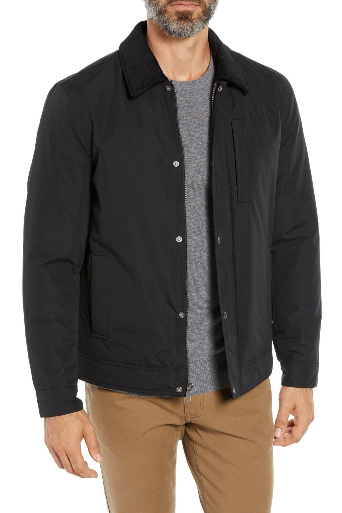 Image of Cole Haan Corduroy Collar Zip Barn Jacket