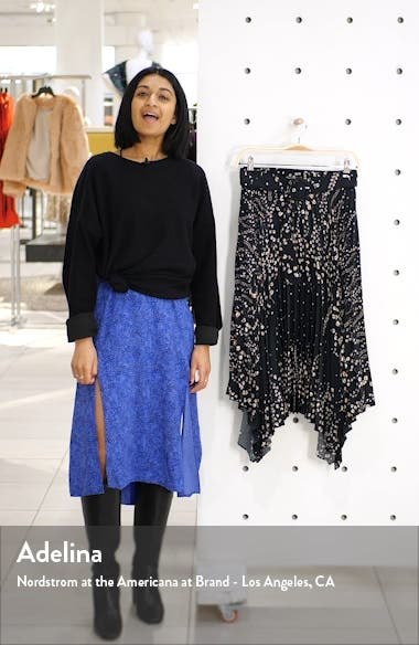 Floral Belted Pleated Midi Skirt, sales video thumbnail