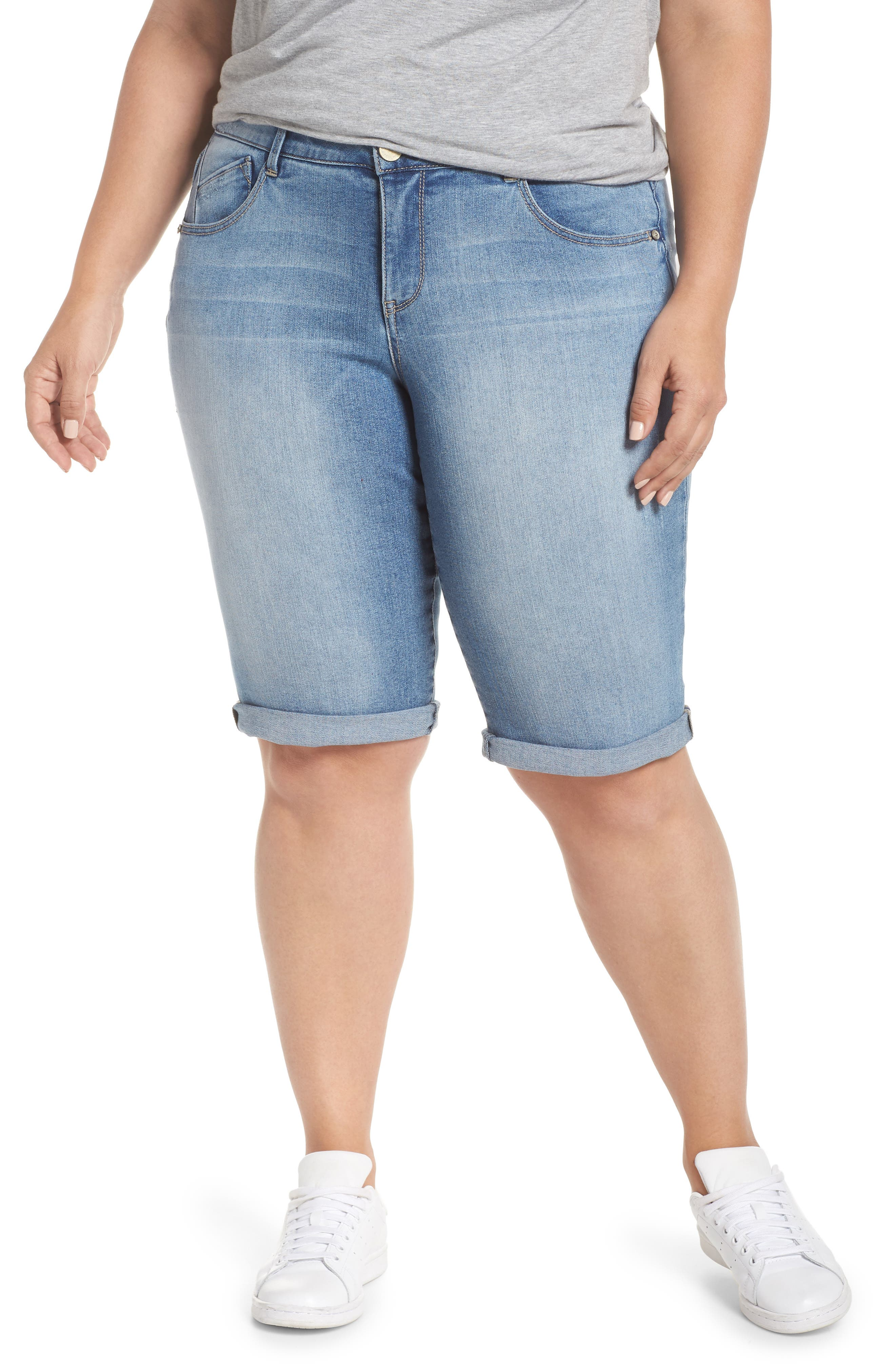 Plus Women's Wit & Wisdom Ab-Solution Cuffed Denim Shorts