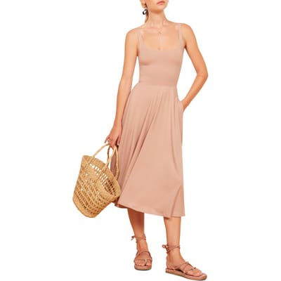 Reformation Rou Midi Fit & Flare Dress, Pink
