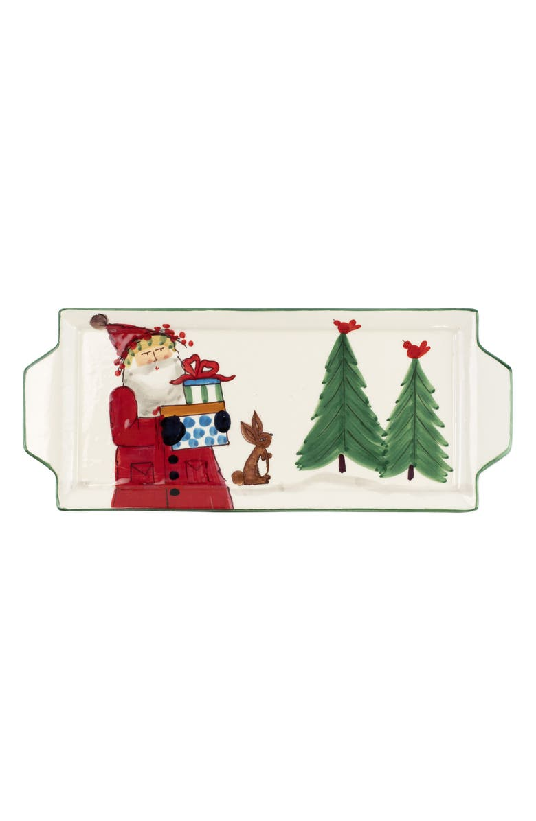 VIETRI Old St. Nick Handled Rectangular Platter, Main, color, MULTI