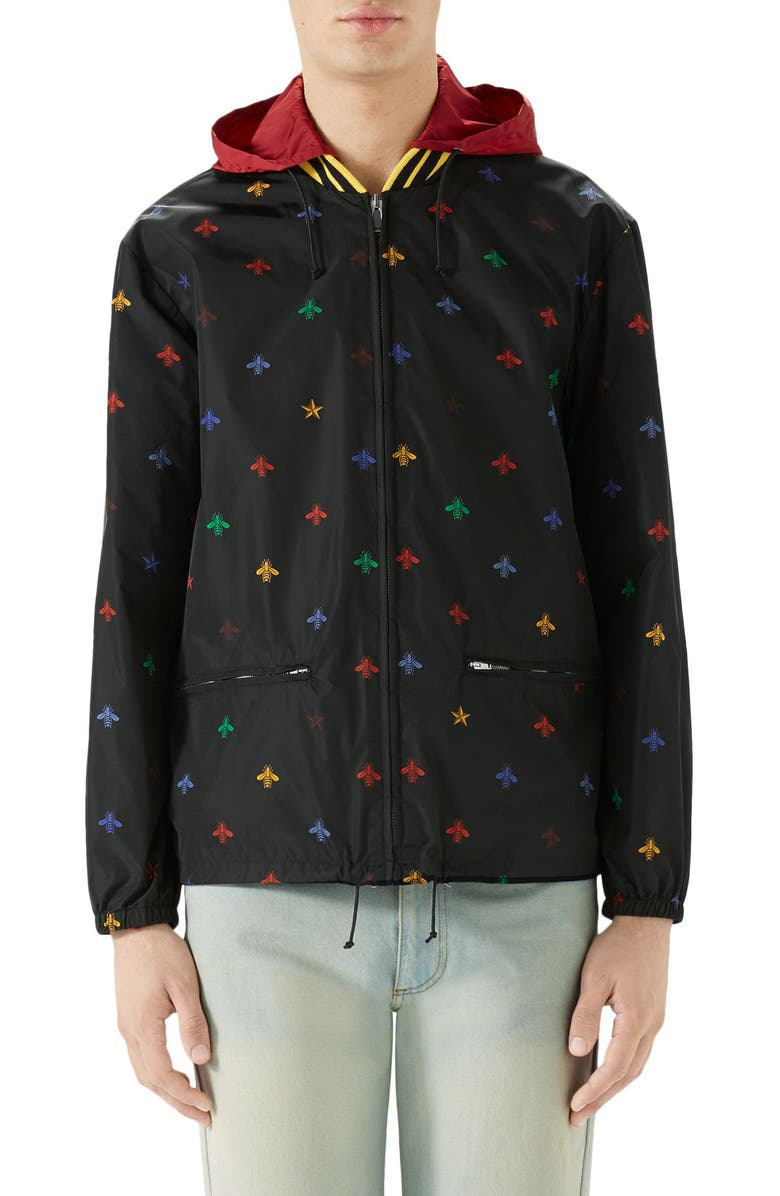 GUCCI Bee Print Lightweight Jacket, Main, color, BLACK