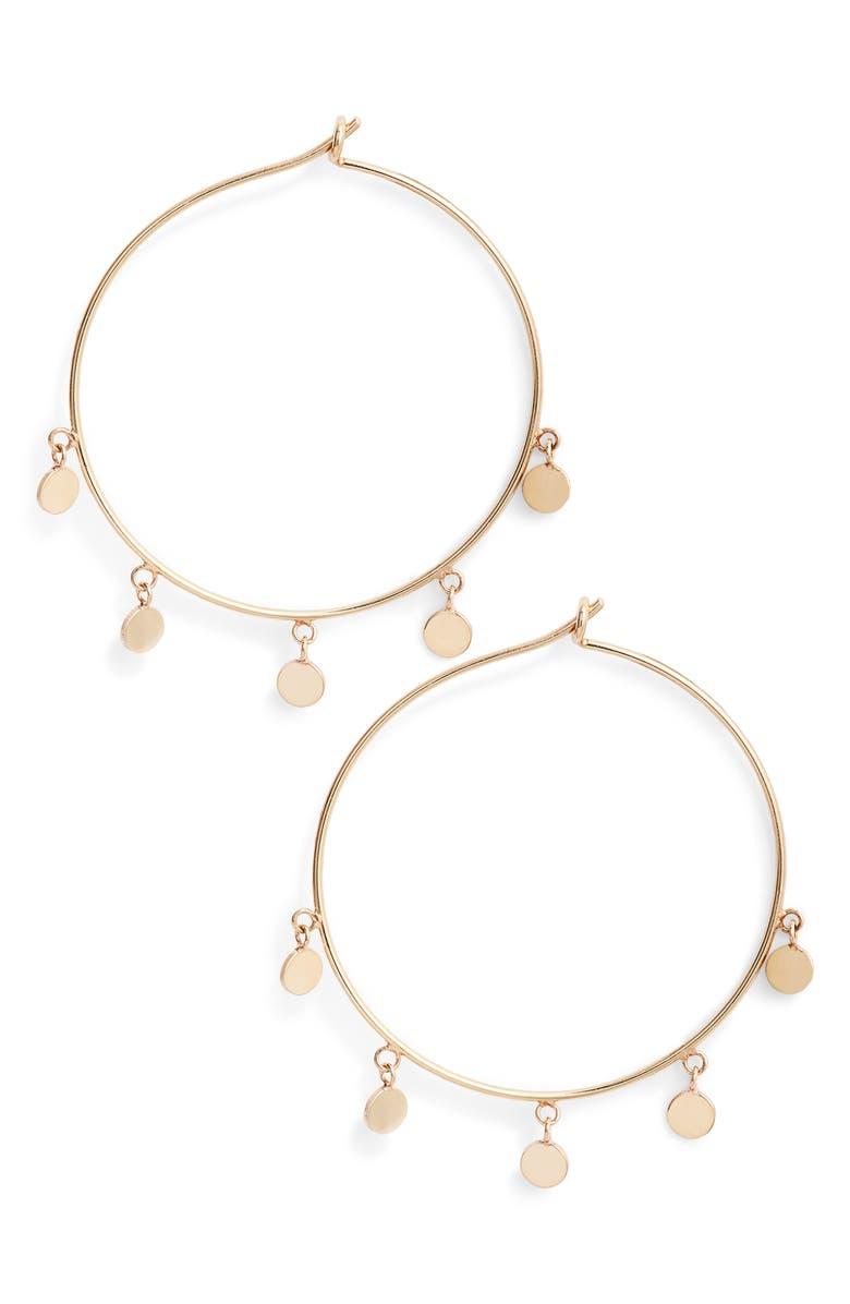 ZOË CHICCO Disc Hoop Earrings, Main, color, GOLD