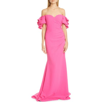 Badgley Mischka Origami Off The Shoulder Gown, Pink