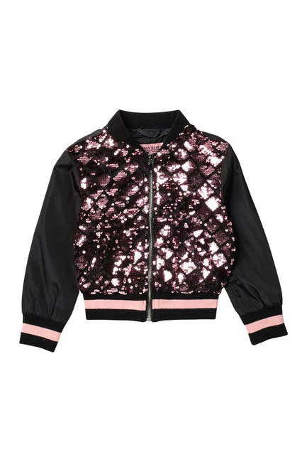 Image of Urban Republic Sequined Satin Bomber Jacket