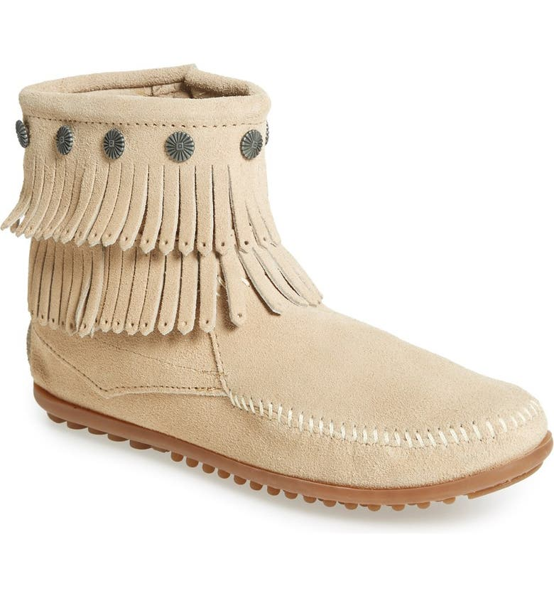 MINNETONKA Double Fringe Boot, Main, color, STONE SUEDE