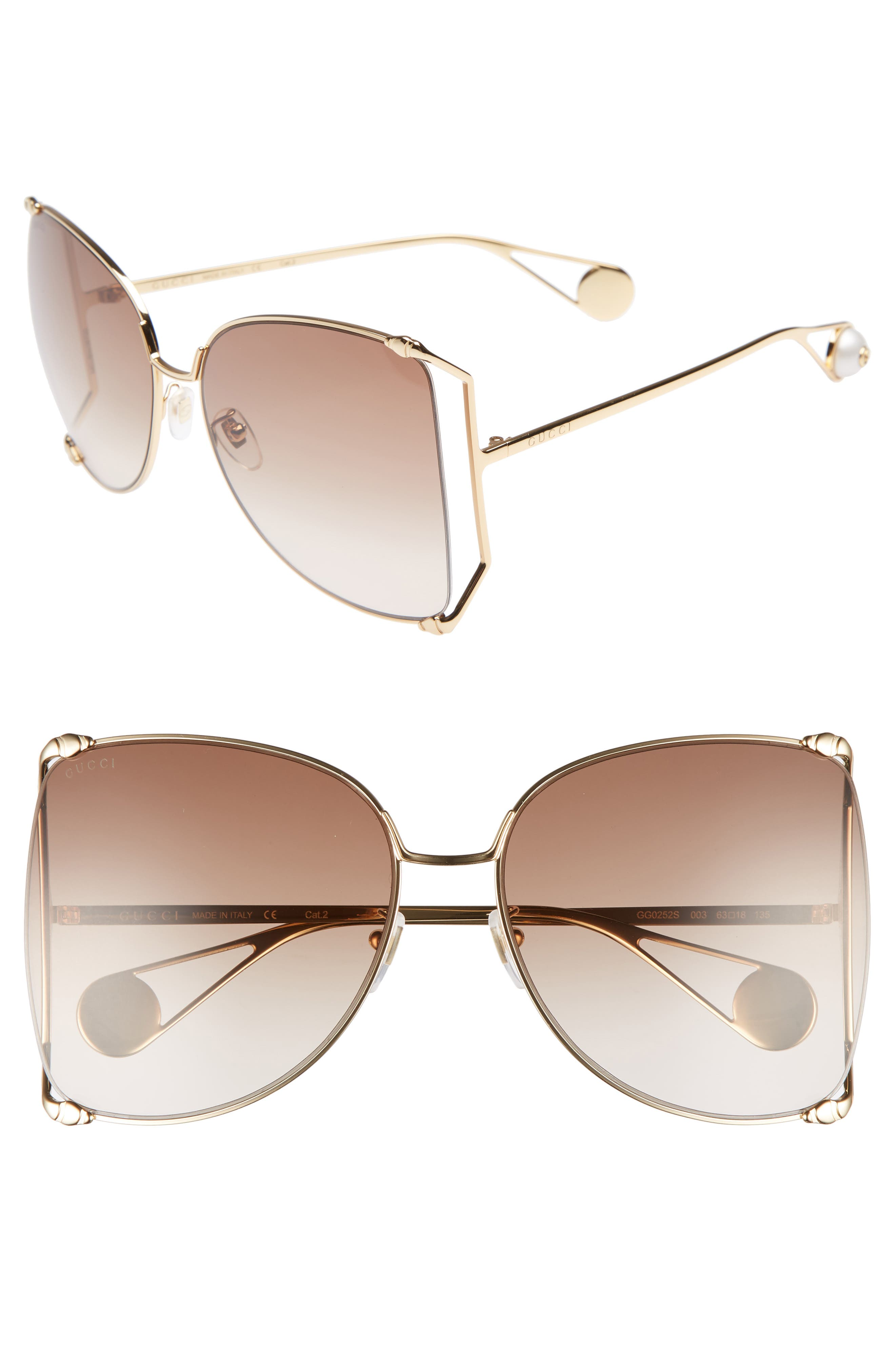 ,                             63mm Gradient Oversize Butterfly Sunglasses,                             Main thumbnail 4, color,                             712
