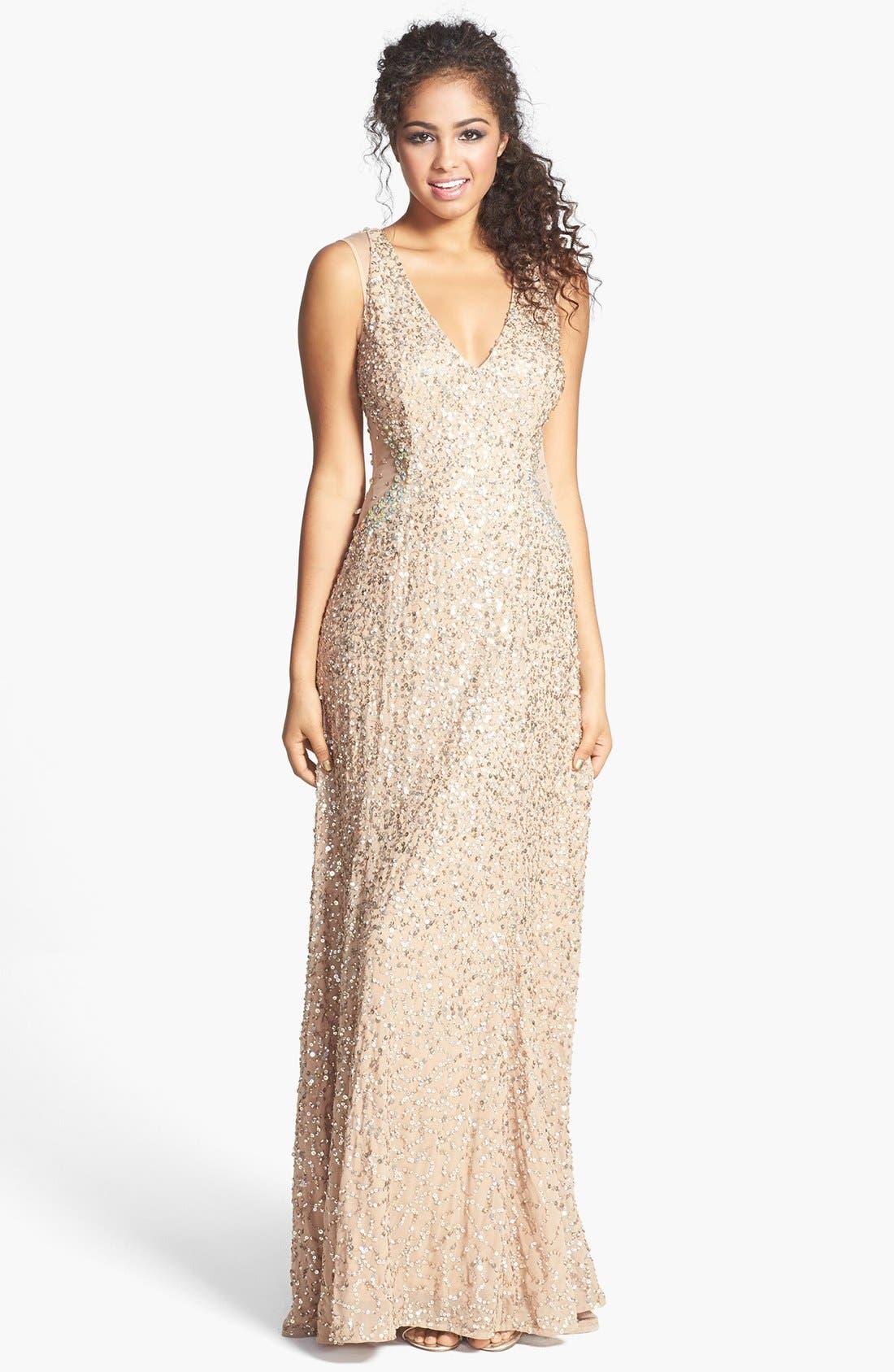 Embellished V-Neck Gown, Main, color, 220