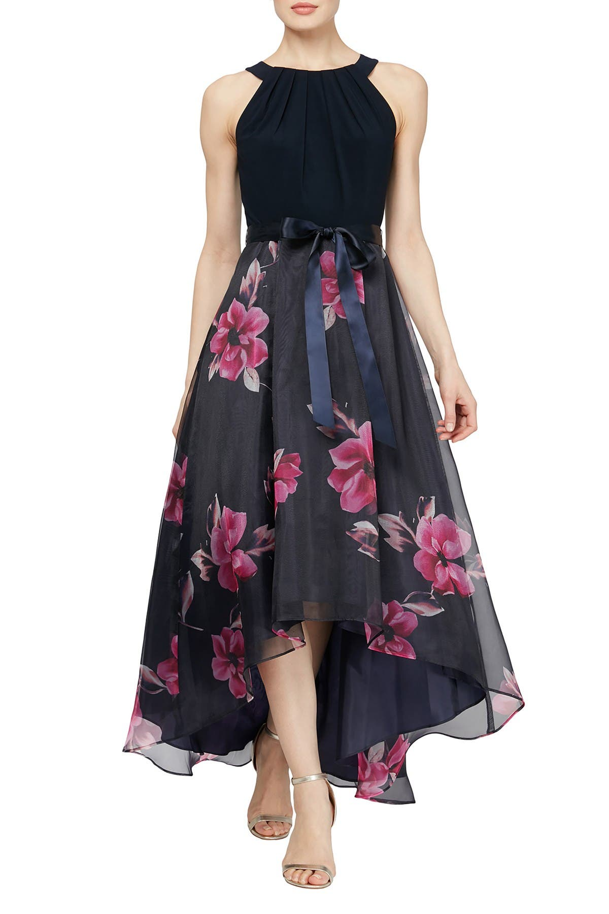 Image of SLNY Floral High/Low Skirt Maxi Dress