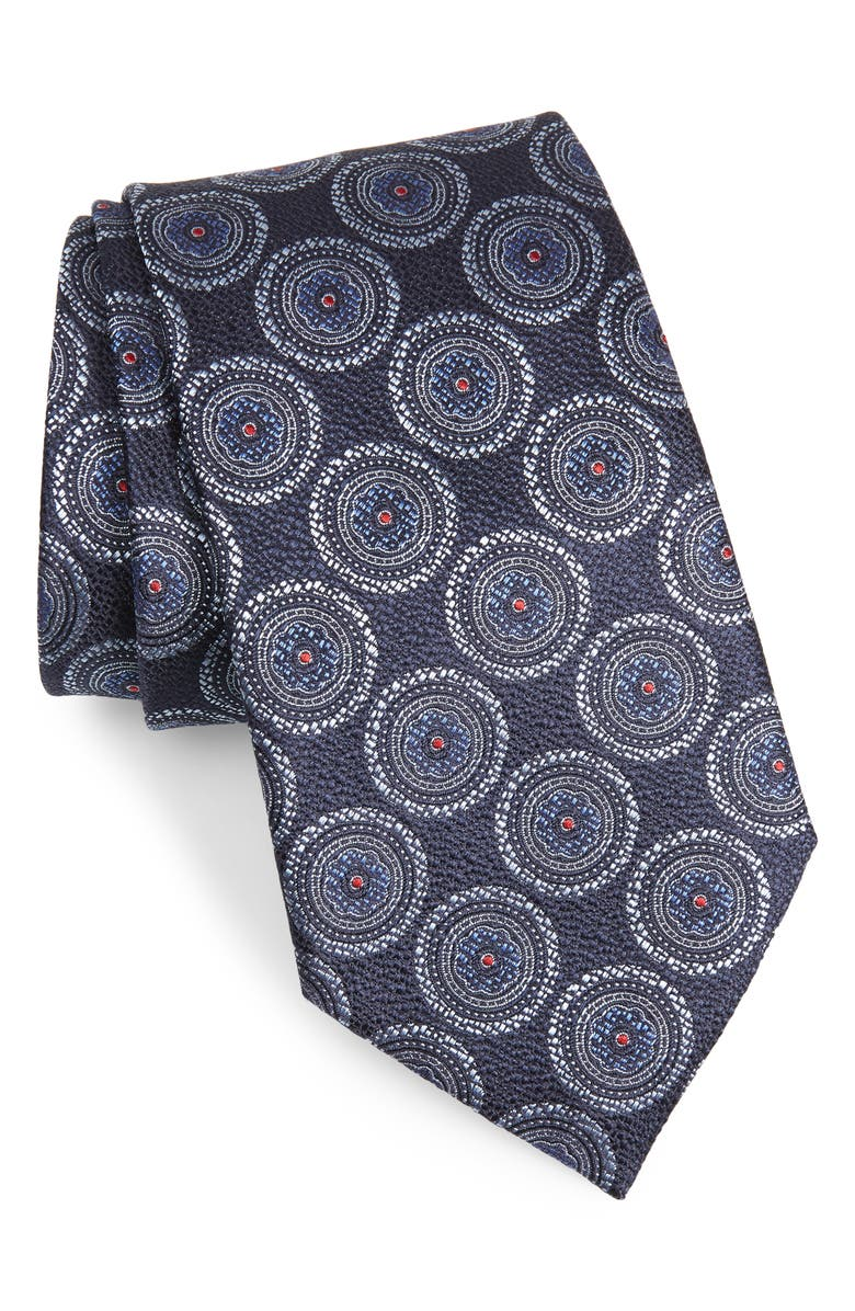ERMENEGILDO ZEGNA Medallion Silk Tie, Main, color, NAVY