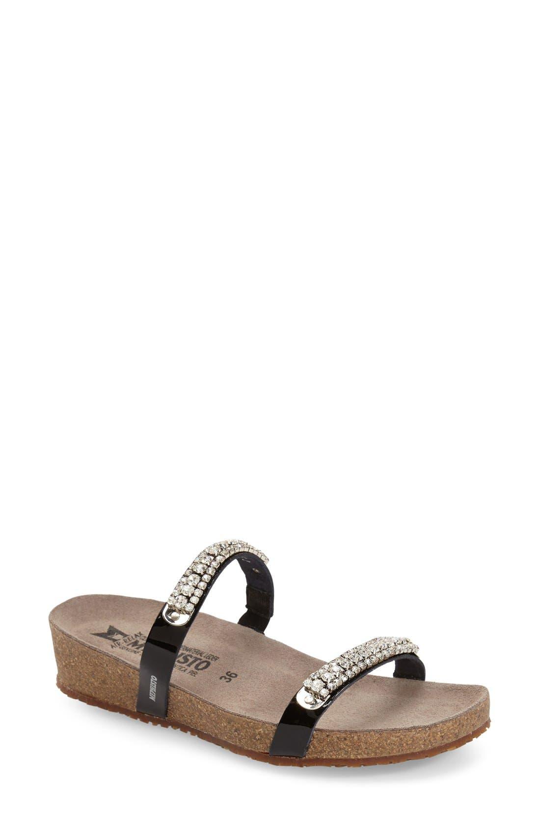 ,                             'Ivana' Crystal Embellished Slide Sandal,                             Main thumbnail 1, color,                             BLACK PATENT