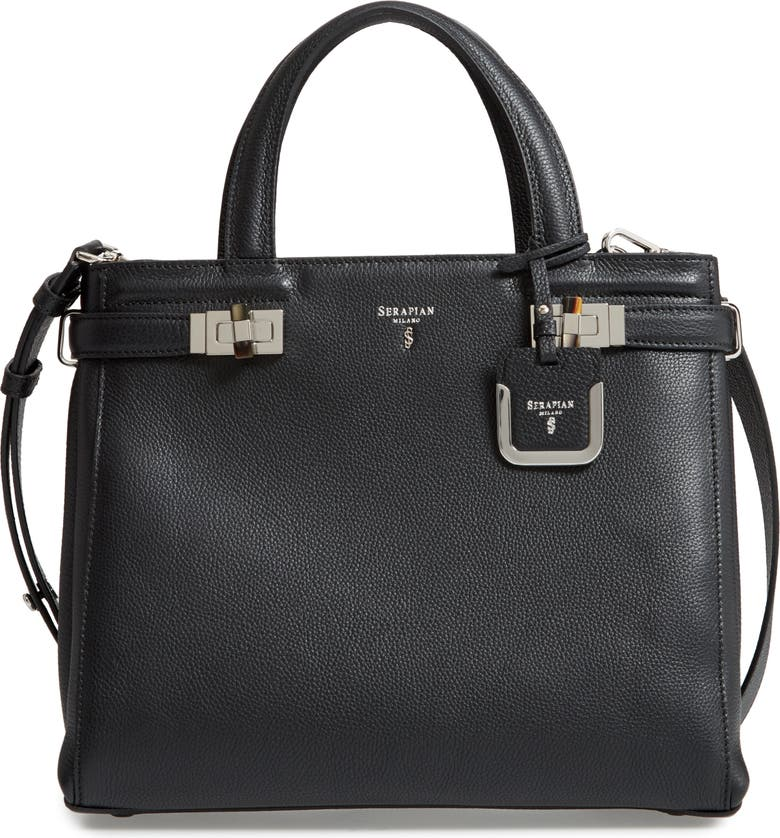 SERAPIAN MILANO Small Meline Evolution Leather Bag, Main, color, BLACK