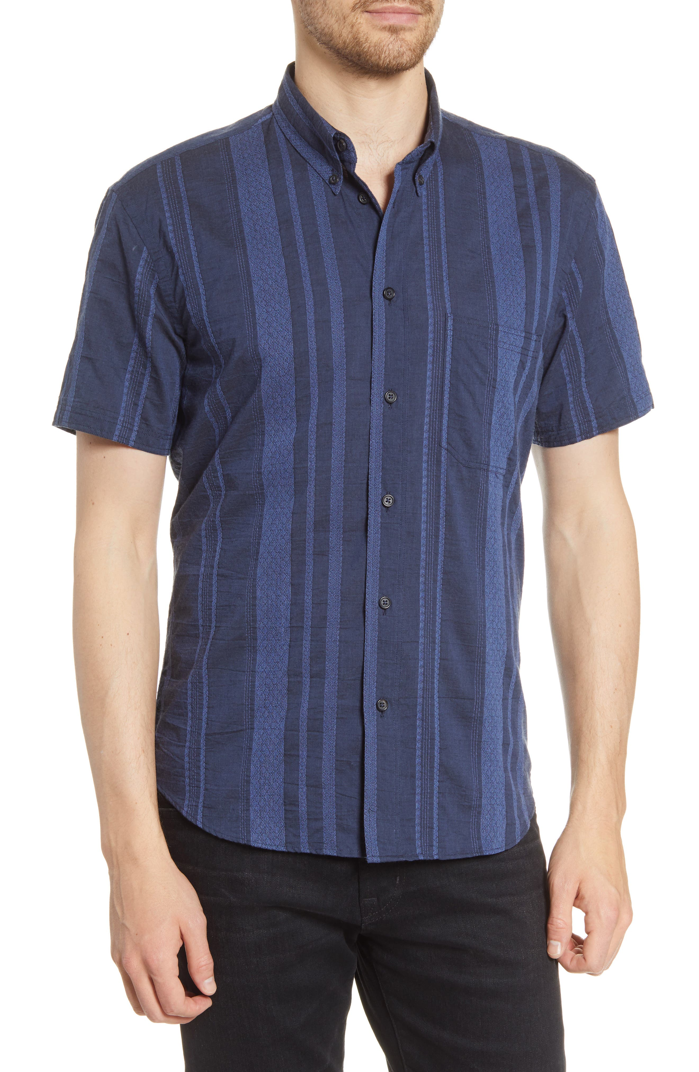 Image of Billy Reid Tuscumbia Striped Short Sleeve Regular Fit Shirt
