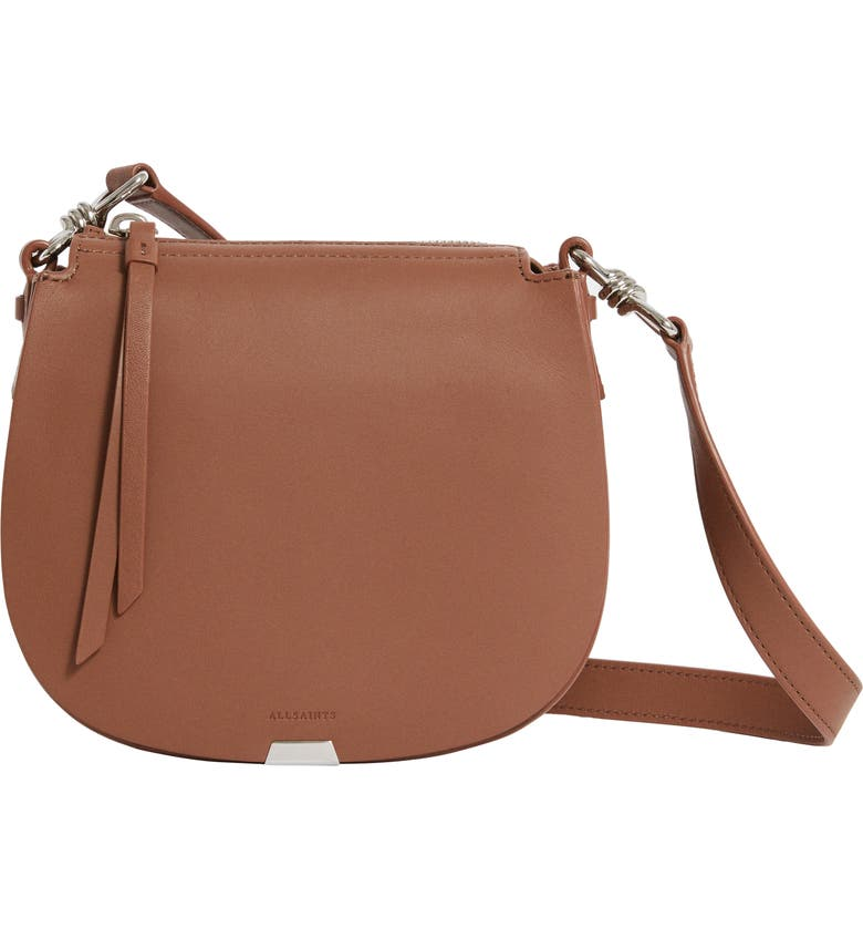 ALLSAINTS Small Captain Round Leather Shoulder Bag, Main, color, CHOCOLATE BROWN