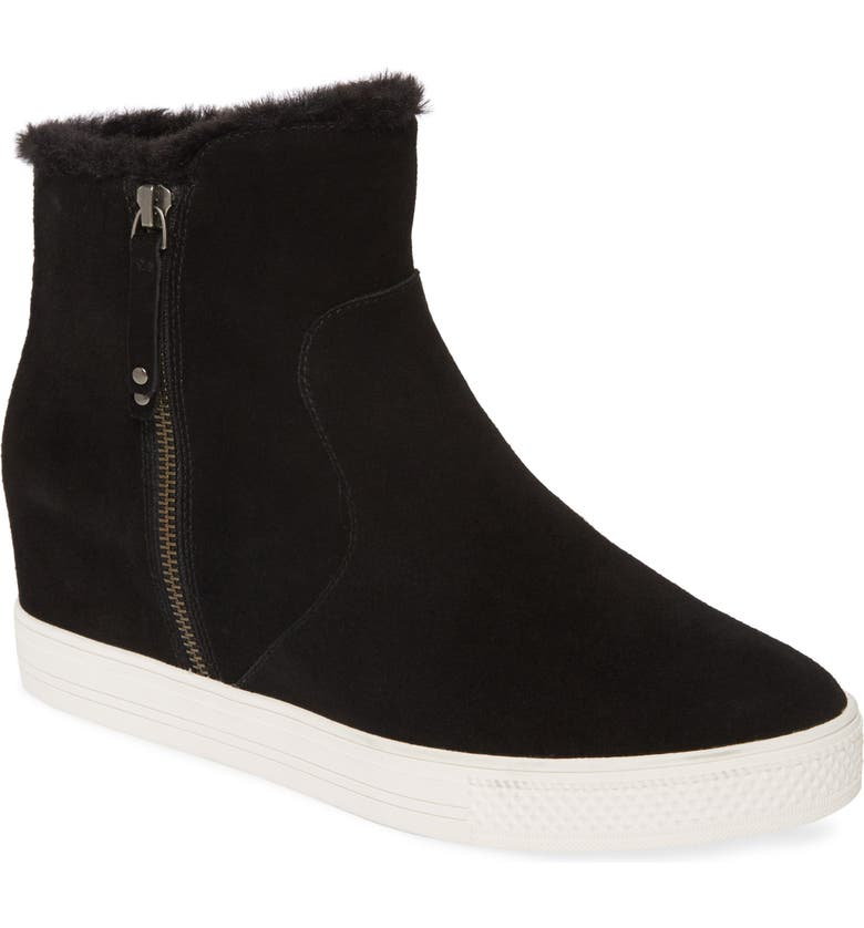 CASLON<SUP>®</SUP> Averie Hidden Wedge Water Resistant Bootie, Main, color, BLACK SUEDE