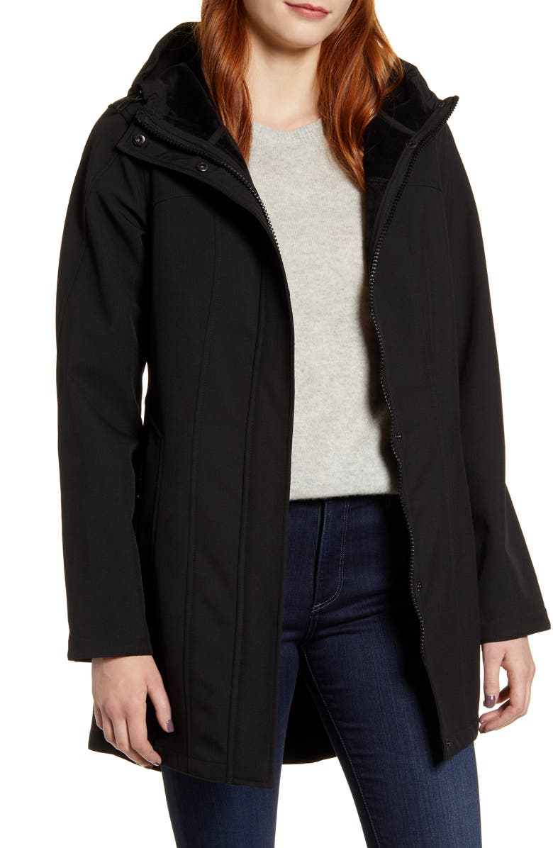 KRISTEN BLAKE Packable Softshell Hooded Jacket, Main, color, 001