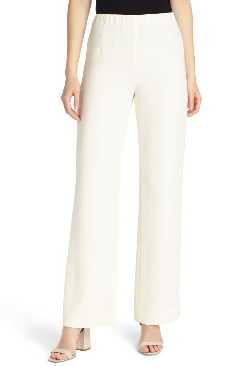 LAFAYETTE 148 NEW YORK Studio Stretch Silk Pants, Main, color, CLOUD