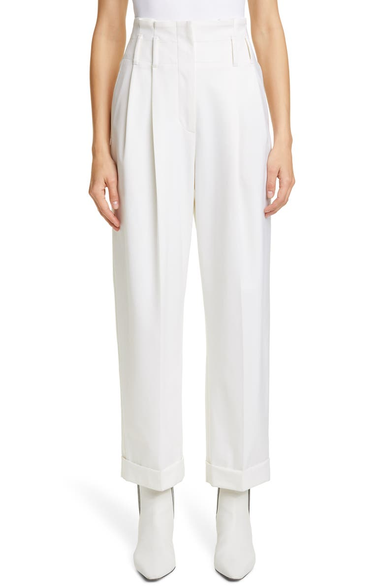 BRUNELLO CUCINELLI High Pleated Waist Cuffed Ankle Pants, Main, color, WHITE