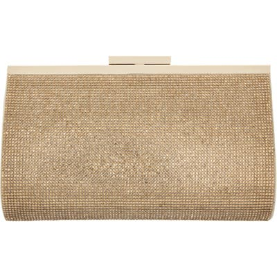Nina Crystal Frame Clutch - Metallic