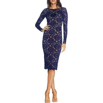 Dress The Population Emery Long Sleeve Lace Cocktail Dress, Blue
